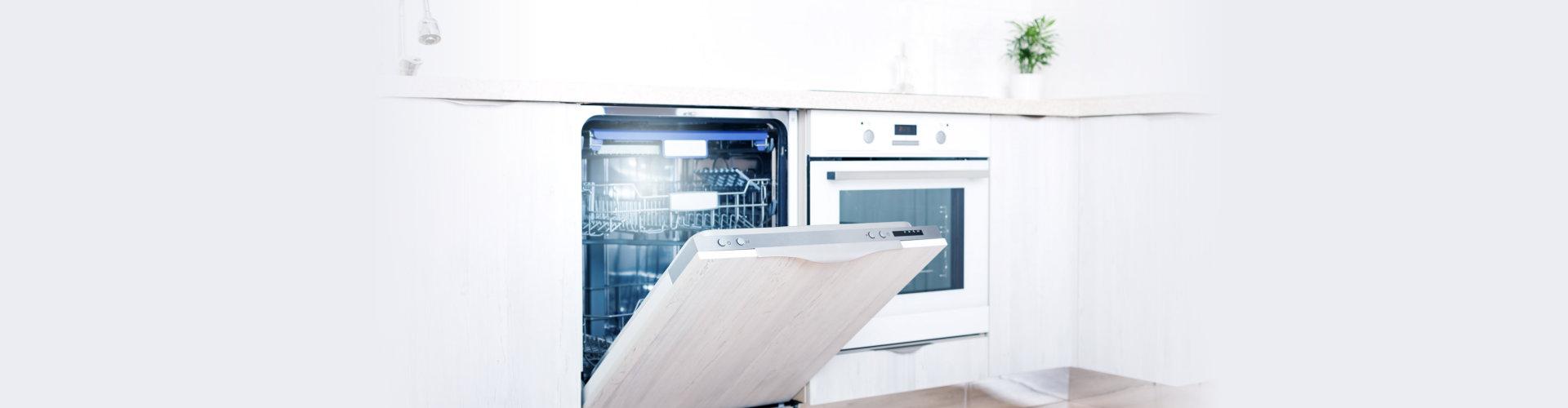 home appliance dishwashing machine in kitchen interior